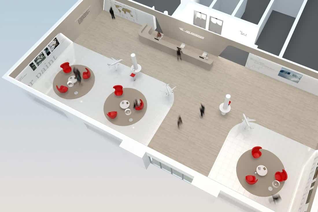vue axonométrique 3D du showroom Jet Aviation