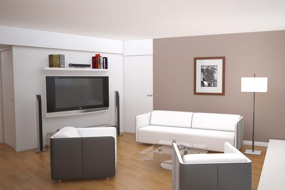 Promoteur immobilier : simulation 3D d'un salon
