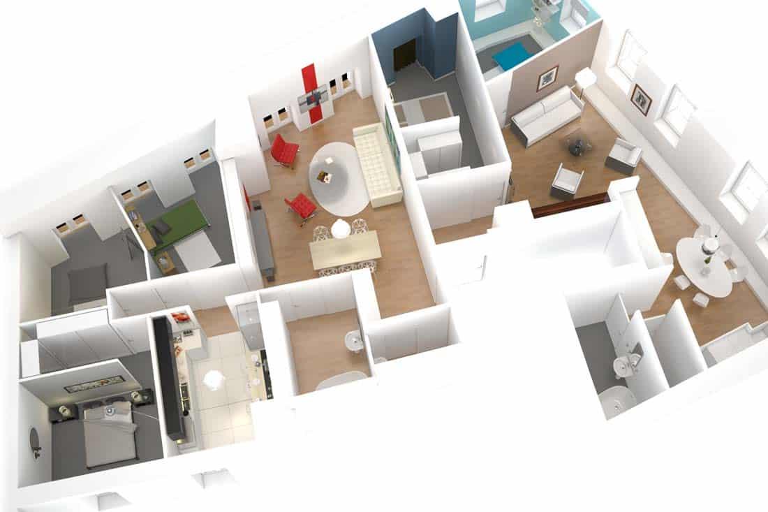 plan 3D d'appartement ou vue axonométrique