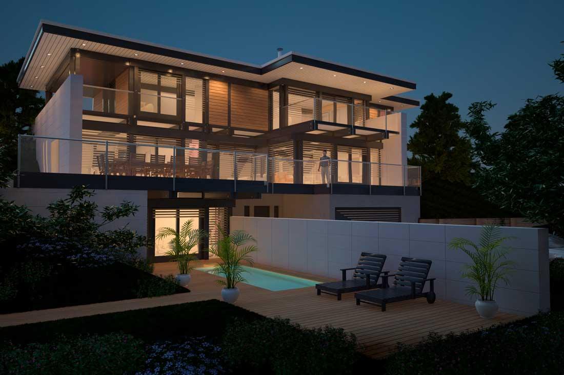 Maison d'architecte : perspective 3D extérieure