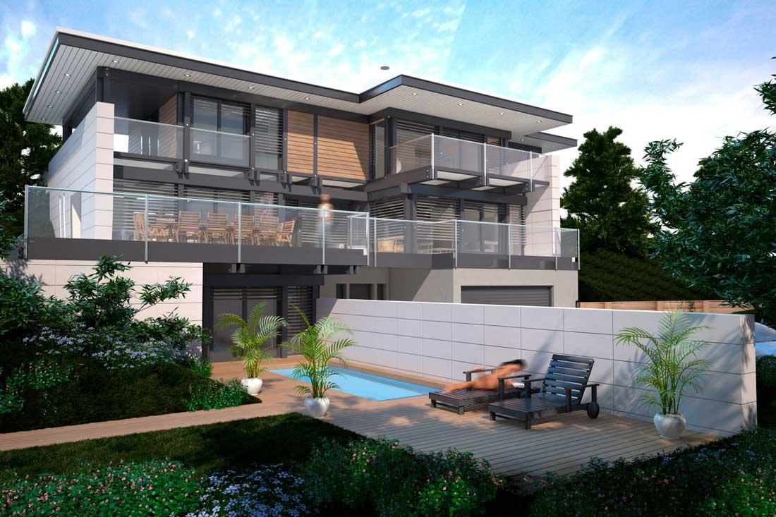 rendu perspective 3D maison d'architecte