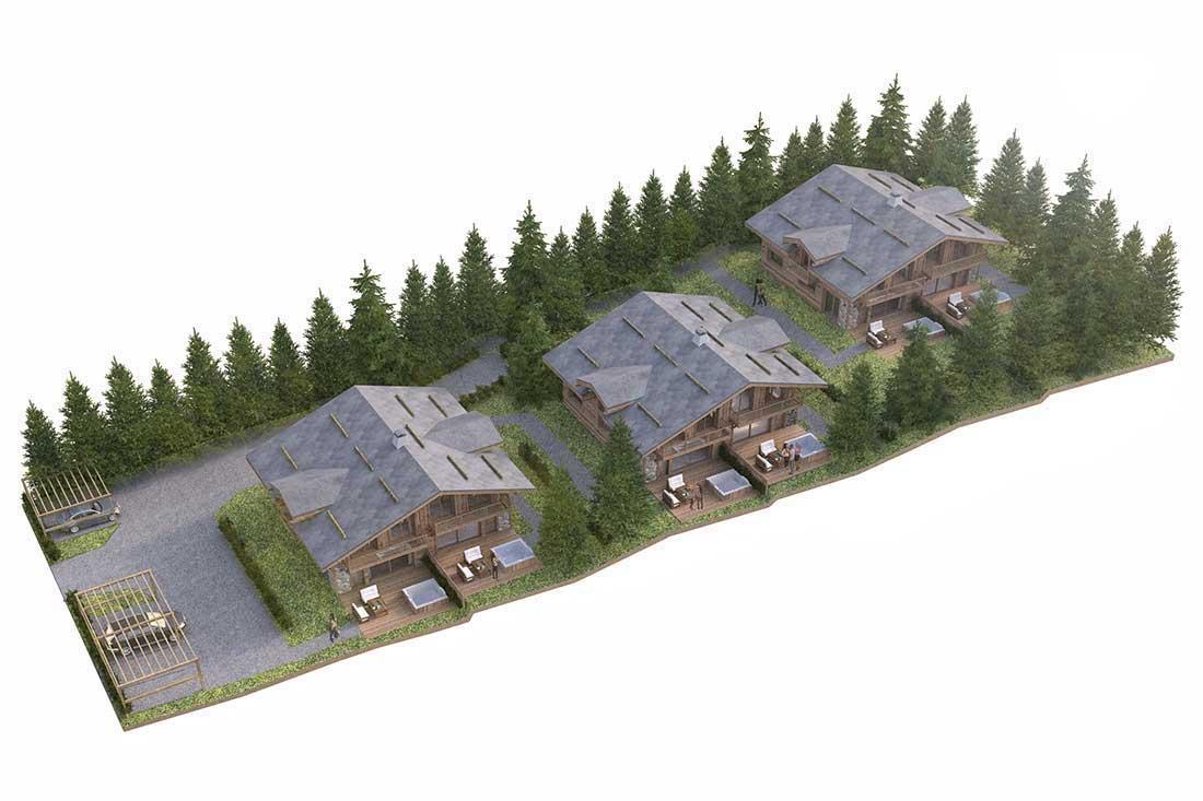 Plan 3D promotion immobilière chalet Paradis Chamonix