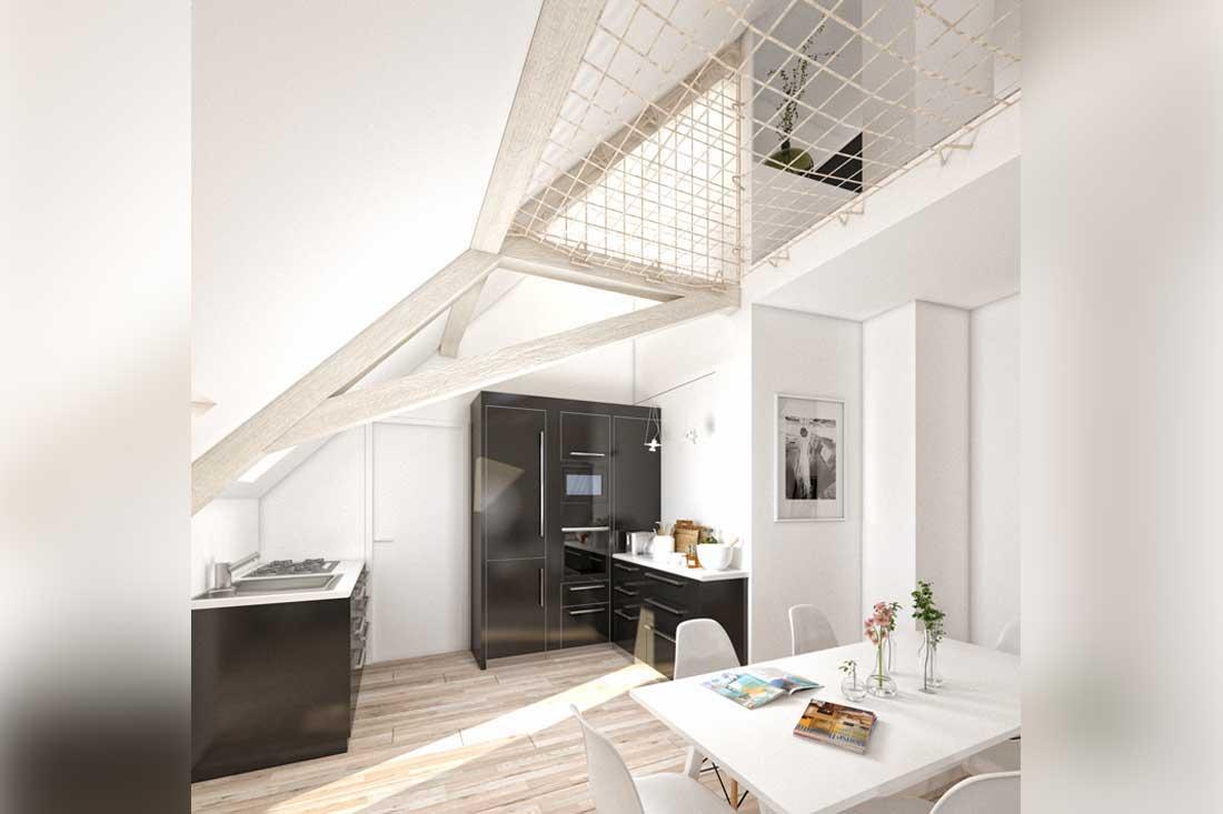 image 3d cuisine loft