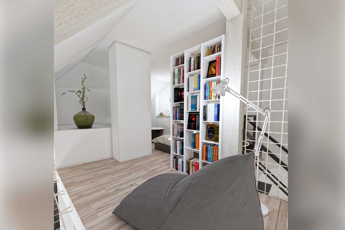 image 3d mezzanine bibliotheque loft