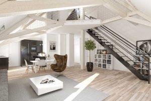 loft 3d pièce-de-vie